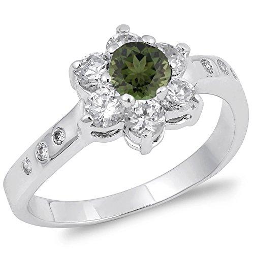 Genuine Emerald Flower (925 Sterling Silver Round Faceted Natural Genuine Green Emerald Flower Ring Size 7)