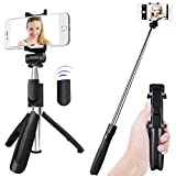 Selfie Stick Tripod, 360 Rotation Bluetooth Selfie Stick Extendable Length and Rotatable Angles with Wireless Remote Selfie Stick for iPhone X/8 Plus iPhone 7 Android Samsung Galaxy s5 s6 s7 Gopros