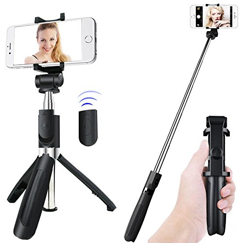 Selfie Stick Tripod, 360 Rotation Bluetooth Selfie Stick Extendable Length and Rotatable Angles with Wireless Remote Selfie Stick for iPhone X/8 Plus iPhone 7 Android Samsung Galaxy s5 s6 s7 Gopros by yogou