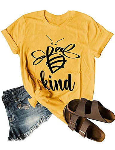 Woxlica Women Graphic T Shirt Bee Kind Print Summer Cotton Jersey Tops Yellow M