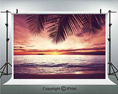 Deep Ocean Shadow - Palm Tree Decor Photography Backdrops Tropical Beach Under Shadow at Sunset Ocean Waves Serenity in Natural Paradise,Birthday Party Background Customized Microfiber Photo Studio Props,5x3ft,Yellow