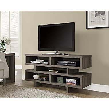 Monarch Specialties Dark Taupe Reclaimed-Look Hollow-Core TV Console, 48-Inch