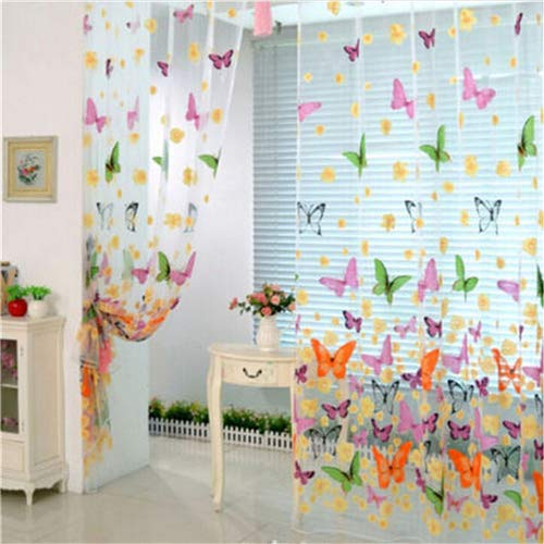 Curtains For - 2016 200x 100cm Butterfly Printed Tulle Voile Door Window Balcony Sheer Panel Screen Curtains - Outdoor Young Beaded Loft Porch Bead Insulation Shower Panel Blackout Mens N