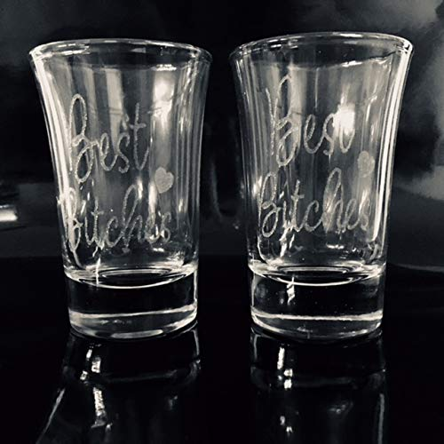 e80e121f65 Image Unavailable. Image not available for. Color  Set of 2 Best Bitches  Laser Engraved Shot Glasses. One shot glass ...