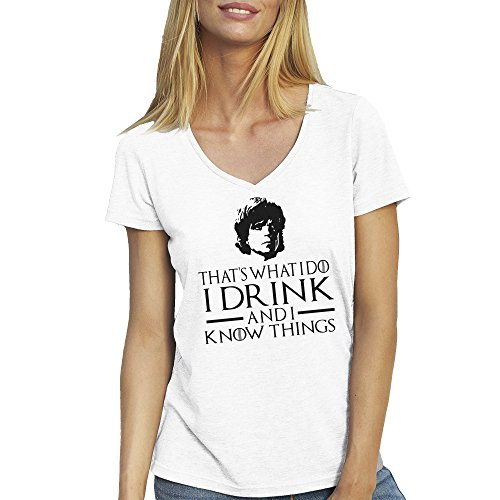 Game Of Thrones I Drink And I Know Things Tyrion Lannister T-Shirt camiseta Cuello V para la Mujer Blanca