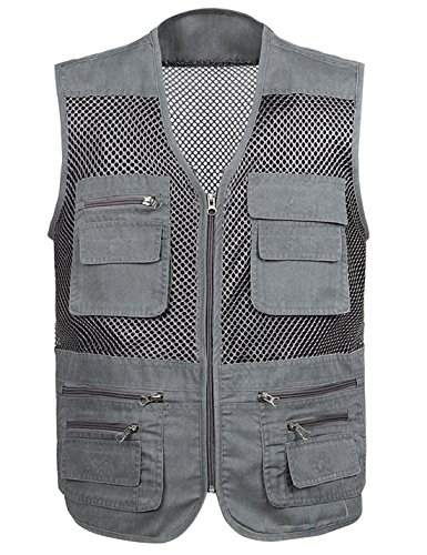Gihuo Men's Mesh Quick Dry Multi Pockets Summer Outdoor Leisure Travel Vest (Grey, X-Large)