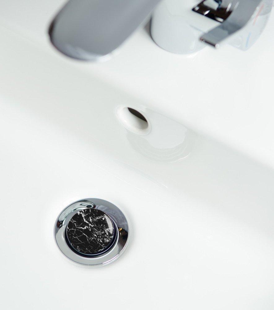 passend f/ür alle handels/üblichen Waschbecken hochwertige Qualit/ät ✶✶✶✶✶ Waschbeckenst/öpsel Marmor Schwarz