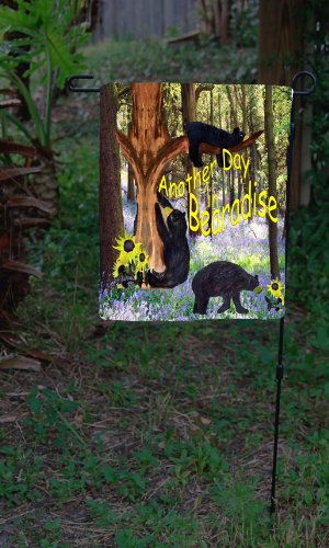 Another Day in Bearadise Black Bear Garden Flag From Art