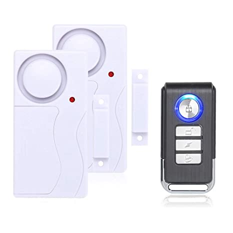 Mengshen Alarma de Puertas y Ventanas - Alarma Antirrobo Inalámbrica con Control Remoto, Fácil De Instalar, 105db (Incluye 2 Alarma y 1 Control ...