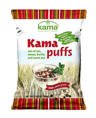 Whole Grain Kama Puffs Breakfast Cereal | No Added Sugars No Preservatives Non GMO | Good Source of Fiber & Folic Acid | Healthy Nordic Breakfast Cereal | 3.53OZ, 100 (Full Belly Bowl)