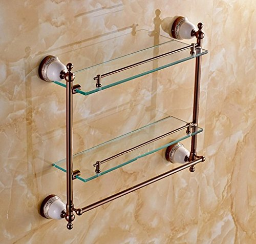(GOWE Bathroom Accessories Solid Brass Rose Gold Finish With Tempered Glass,Double Glass Shelf bathroom shelf)