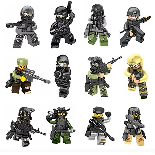 Minifigures Set - 12pcs Army Minifigures SWAT Team with Military Weapons Accessories Policeman Soldier Minifigures Toys Building Blocks 100% (Policeman Accessories)