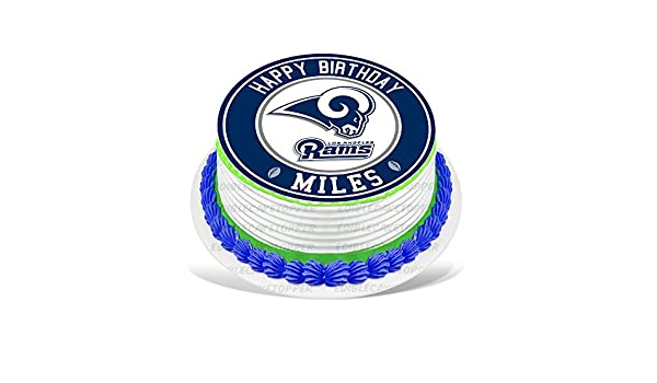 Los Angeles Rams Edible Cake Topper Personalized Birthday 8 Round Circle Decoration Party Sugar Frosting Transfer Fondant Image Best Quality