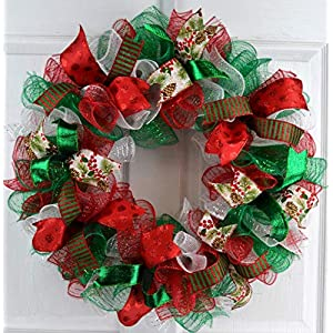 Christmas Wreaths | Red White Emerald Green Outdoor Mesh Front Door Wreath : C2 51