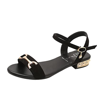 38a019bb144b Amazon.com  Ladies Office Shoes Wedge Sandals Buckle Low Heels Peep-toe  Flat Sandals (US 6.5