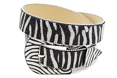 BELTSWEB Women's All Zebra Rhinestone Stripe Cowgirl Bling Belt