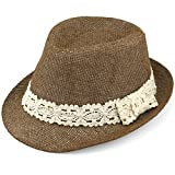 Evolatree Trilby Fedora Hats for Kids - Summer, Beach & Party Hat for Boys & Girls - Short Brim Childrens Sun Hat - Cream Lace Trim Band - Brown