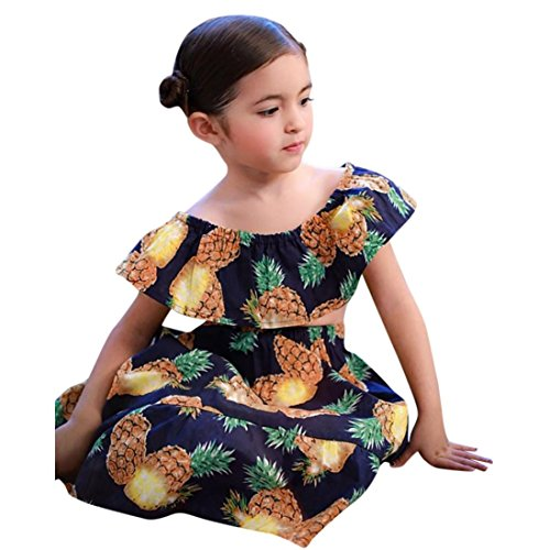 Fiaya 2Pcs Kids Baby Girls Pineapple Print Off Shoulder Tops+Skirt Set Outfit Clothes for Little Girl 12M-6T (Navy, 5T)
