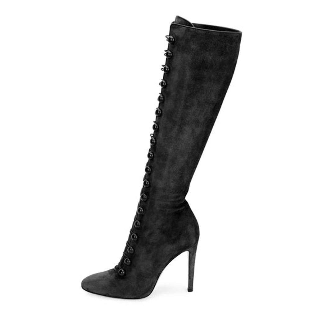Frauen High Heel Knie Stiefel Seitlichem Reißverschluss Wies Wies Reißverschluss Hohe Stiefel Wasserdichte Plattform Hängen Schnalle Elastische Stiefel 03f95f