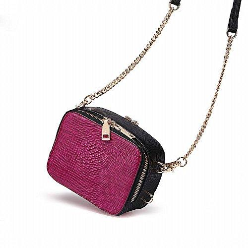 Bolsa de la Personalidad de la Moda de Otoño Femenina Mini Pequeña Textura de Equipaje de Doble Cara Multifuncional Cadena Pequeña Bolsa Cuadrada,Negro Negro