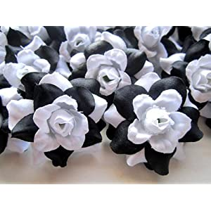 "(24) Silk Black White Roses Flower Head - 1.75"" - Artificial Flowers Heads Fabric Floral Supplies Wholesale Lot for Wedding Flowers Accessories Make Bridal Hair Clips Headbands Dress 104"