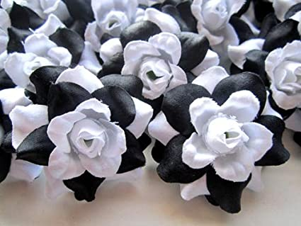 Amazon 24 silk black white roses flower head 175 24 silk black white roses flower head 175quot artificial flowers heads mightylinksfo