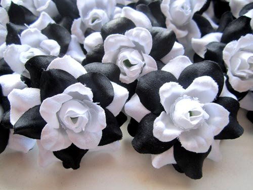Amazon com 24 silk black white roses flower head 1 75 artificial flowers heads fabric floral supplies wholesale lot for wedding flowers accessories