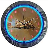 Neonetics Retro WWII Spitfire Airplane Neon Wall Clock, 15-Inch