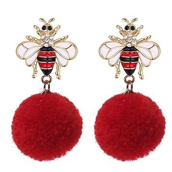 talla 40 36ee2 c2cee Eqerlian Aretes De Moda para Mujer: Bola De Diamantes De ...