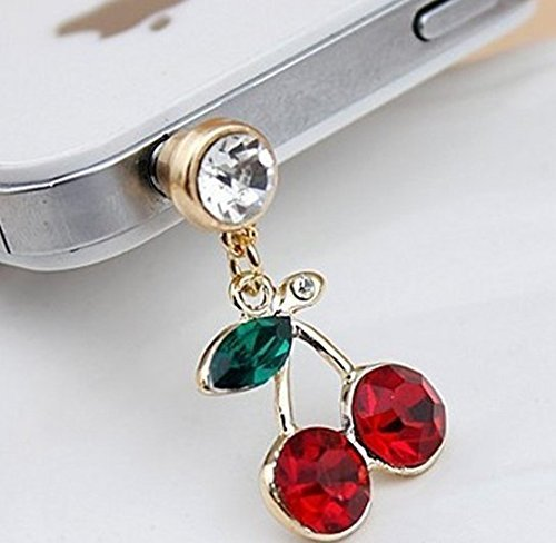Cute Bling Crystal Cherry 3.5 mm Cell Phone Charm Anti Dust Plug Earphone Cap Headphone Jack Accessory for iphone 6 Plus,ipods,ipads,Samsung Galaxy