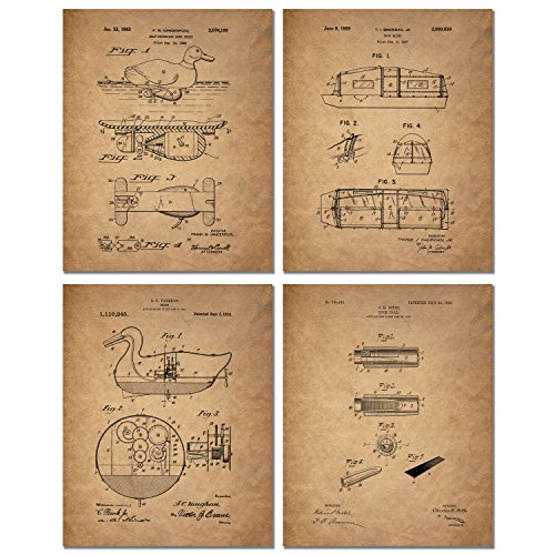 Duck Hunting Patent Prints - Set of Four Vintage Wall Art Decor Photos