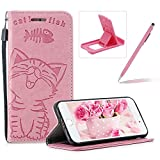 Strap Leather Case for iPhone 8,Pink Wallet Flip Case for iPhone 7,Herzzer Elegant Classic Solid Color Magnetic Closure Cute Fish Cat Printed Stand Shockproof Card Slots Folio PU Leather Back Case with Soft Silicone