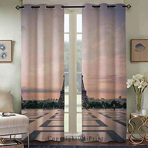 RWNFA Custom Blackout Curtains,Fashion Curtains for Bedroom Living Room,Trocadero and Eiffel Tower at Sunshine Paris Skyline Historic Landscape View,Set of 2 Panels(50