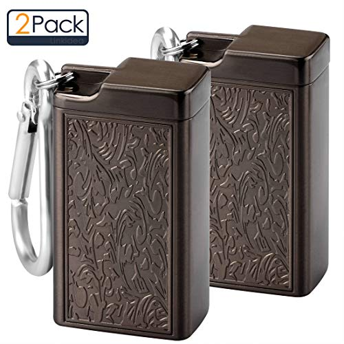 Portable Ashtray, Cigarette Ashtray/Ash Holder, Pocket Smoking Ash Tray with Lid, Easily Bringing with Key Chain When Travelling, Outdoors or Indoor Car/Auto, Beach, Home, Patio (2 PCS Brown)