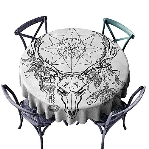 duommhome Tattoo Washable Table Cloth Deer Skull with Feathers on its Antlers as an Accessory Holding a Star Art Indoor Outdoor Camping Picnic D35 White and Black -