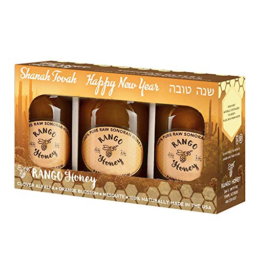Raw Honey - Rosh Hashanah Pack of 3 by Rango Honey - Pure and Unfiltered 100% Natural and Kosher Honey from Sonoran Desert - A sweet way to wish Shanah Tovah to all your family & friends! by Rosh Hashanah