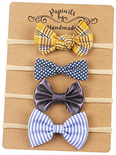(Nylon Baby Hair Bows, Baby Girl Headbands Set, Assorted 4 Packs of Hair Accessories for Newborn Toddler Girls)