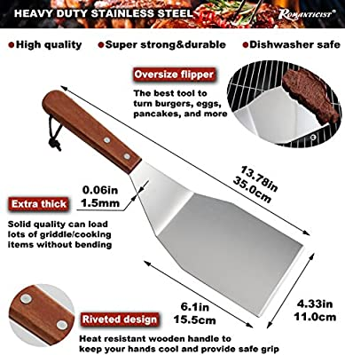 ROMANTICIST 8Pc Professional BBQ Griddle Accessories Kit in Gift Box - Heavy Duty Stainless Steel Griddle Tool Set for Men Women - Great for Grill Griddle Flat Top Cooking Camping Tailgating