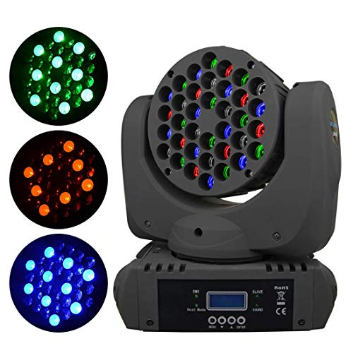BETOPPER DJ Moving Head Par Light 36x3W RGBW LED Beam Lights Spot Stage Lighting 150W with 9/11 Channel for Party Disco DJ Show DMX-512(One of the Most Professional Spot Light)
