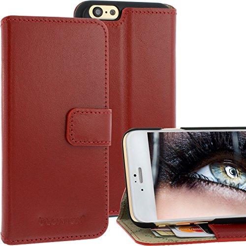 Blumax ® Flip Ledertasche Rot mit Magnetverschluss für IPhone 6 IPhone 6S| Case Hülle cover Etui Tasche flipstyle flipcase Klappbar aus echtem Leder Schutzhülle Lederhülle Glamour Luxus star