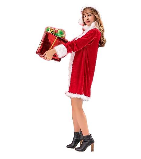 DUBAOBAO Traje de Navidad para Mujer Traje Blanco de Felpa ...