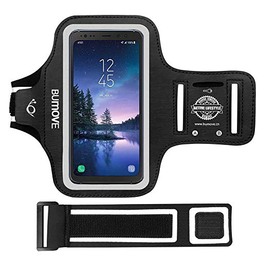 (Galaxy S8 Active/S7 Active Armband,BUMOVE Gym Running/Workouts Arm Band for Samsung Galaxy S8/S7 Active with Key/Card Holder (Black))
