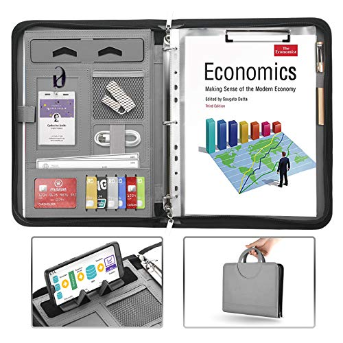 AtailorBird Padfolio, PU Leather Zippered Portfolio Folder with Phone Stand Holder & 3 Ring Binder Document Organizer for Business Interview Office, Gray