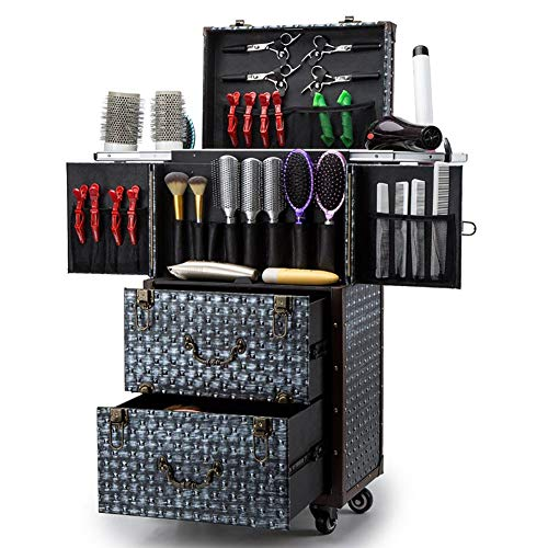ASCASE Aluminum Rolling Makeup Train Case Hairdressing Trolley Salon Barber Cosmetic Luggage Box Sliding Drawers,Brush Hair Dryer Holder(14.74×11.03×29.92 in), Blue
