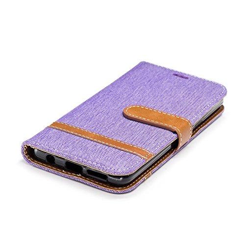 Galaxy S9 Hülle, Samsung Galaxy S9 Lederhülle, BONROY Handyhülle Samsung Galaxy S9 Tasche Premium PU Leder Flip Case Brieftasche Etui Schutzhülle mit Magnetverschluss und Standfunktion für Samsung Gal Denim-lila
