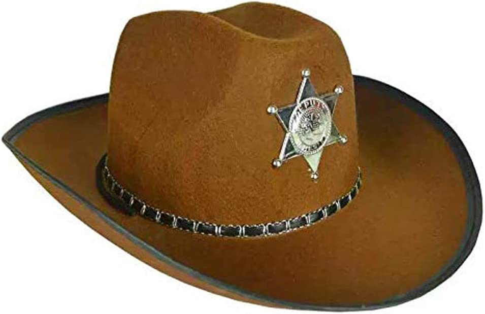 thematys Sombrero de niños Gorro Sheriff Cowboy en marrón ...