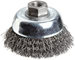 "Weiler Vortex Pro Wire Cup Brush, Threaded Hole, Carbon Steel, Crimped Wire, 3"" Diameter, 0.014"" Wire Diameter, 1/2""-13 Arbor, 14000 rpm (Pack of 1)"