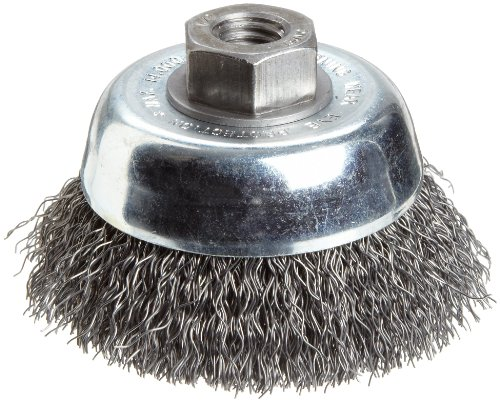 Carbon Crimped Wire - Weiler Vortex Pro Wire Cup Brush, Threaded Hole, Carbon Steel, Crimped Wire, 3