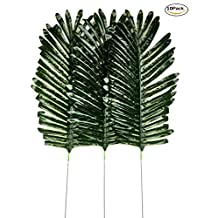 Dect 10Pcs 14 inch Artificial Single Leaf Palm(dark green)