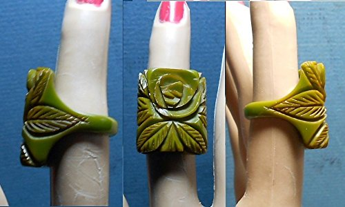 1930s Celluloid - 1 Green Celluloid Ring 1 Large Thick Green Celluloid Art Deco Rose RING, Deeply Hand Carved Celluloid Rose Ring from 1930s. Size 6